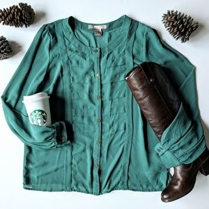 forever 21 teal textured button down blouse